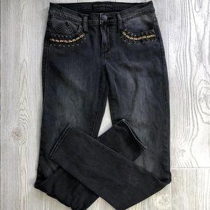 Rock & Republic Sz 4 Blk Jeans Gold Trim